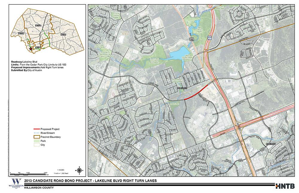 Lakeline Blvd Right Turn Lanes Map