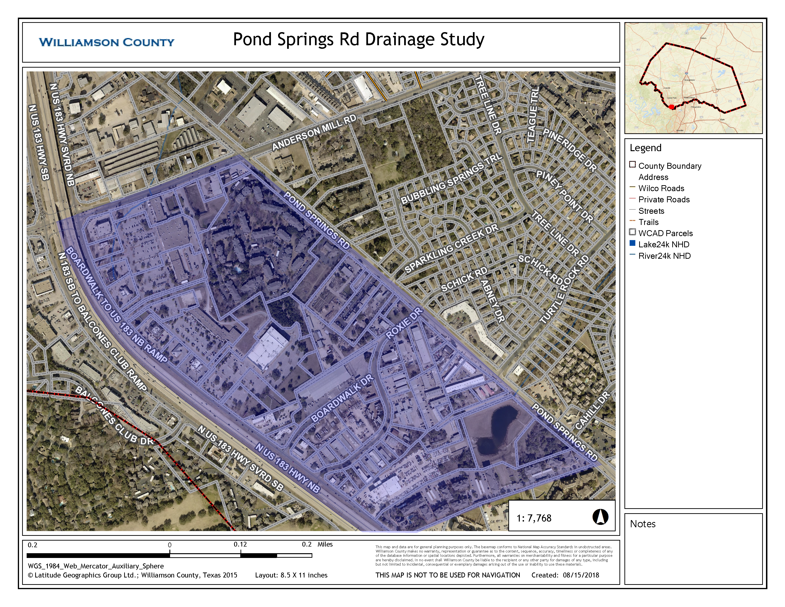 Pond Springs Drainage map